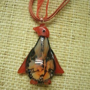 Murano Glass Floral Penguin Necklace